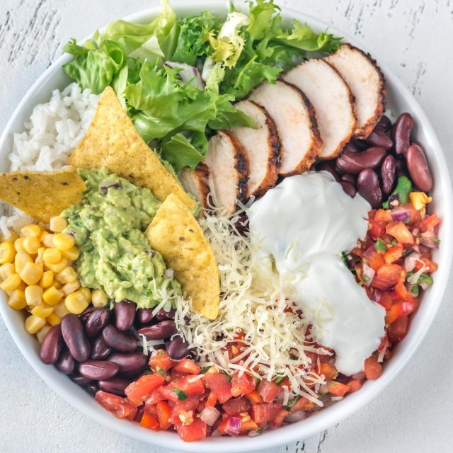 Burrito bowl with tortilla chips